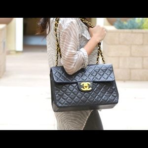 Authentic Chanel jumbo maxi flap black flap